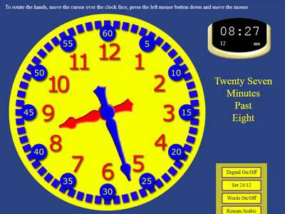 Learn how to tell the time in english using this interactive clock